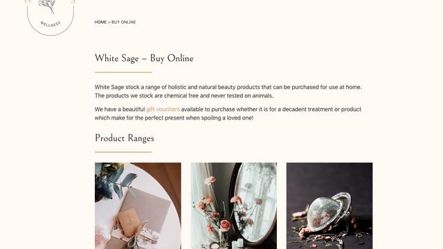 Screenshot of Whitesage online shop