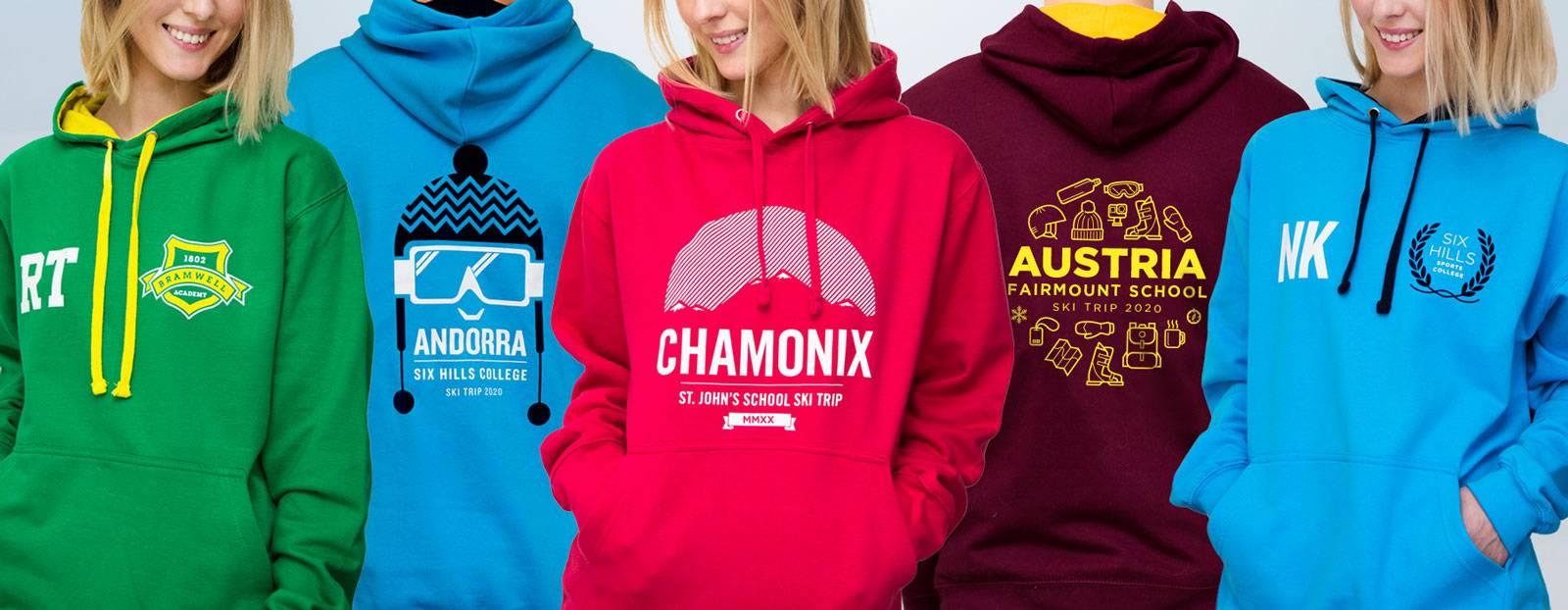 Ski trip hoodies for schools