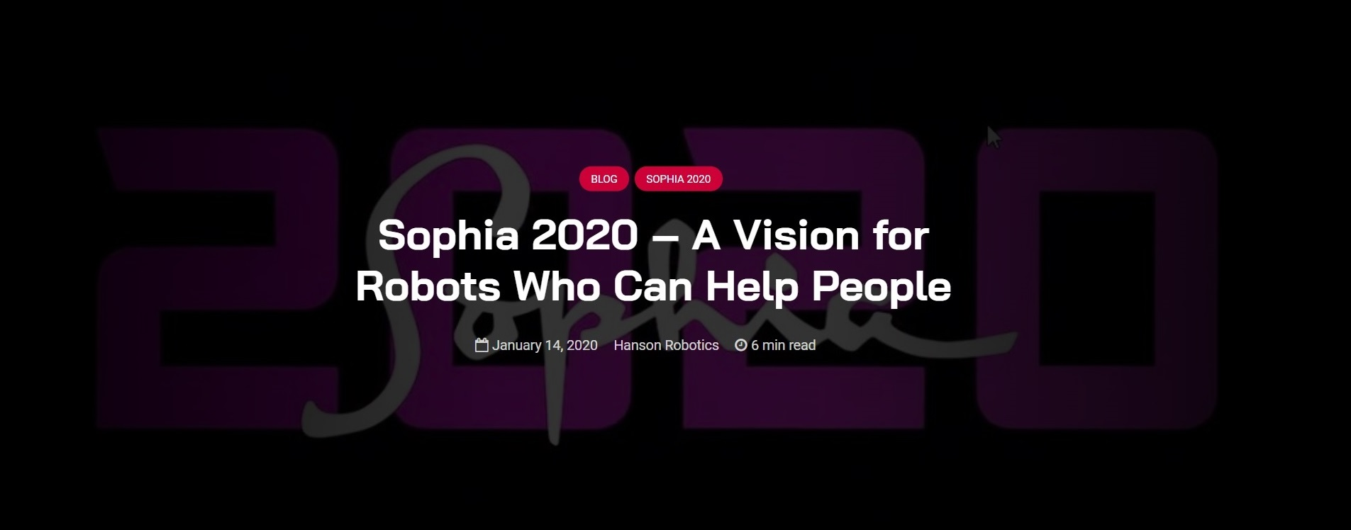 Sophia 2020 - A Vision for Robots Who Can Help People