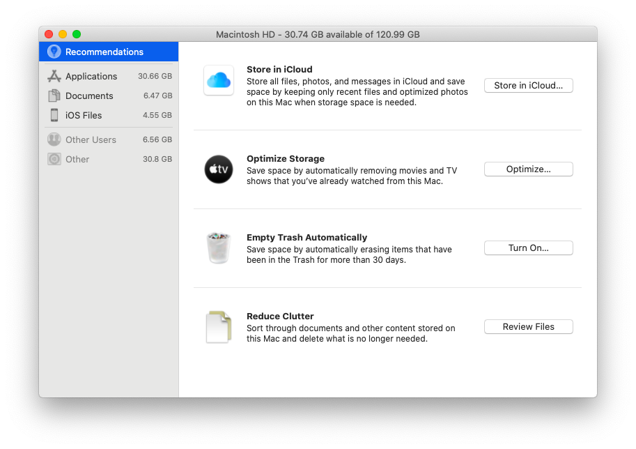 macOS free up space