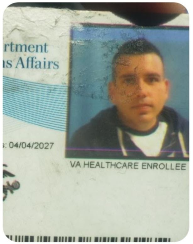A partial photograph of a VA ID card Lebaron provided to LCRW