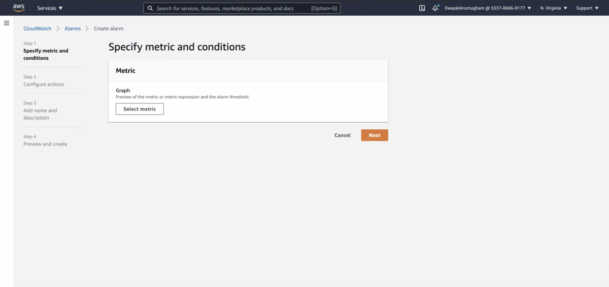 The Specify metric and conditions page.
