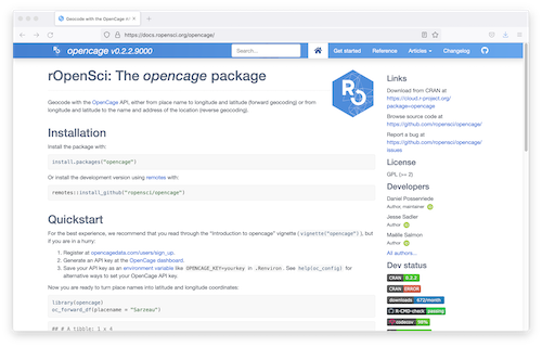 """""""{opencage} R package for accessing the OpenCage geocoding API"""""""