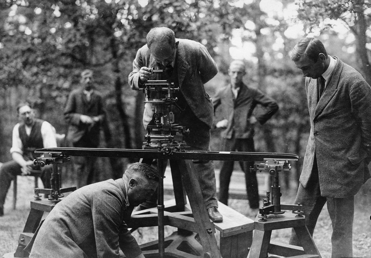 Vermessung mit Basisapparat des Geodätischen Instituts Potsdam, 1924