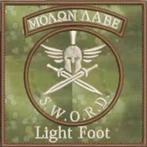 Light Foot militia patch. It reads in Greek letters 'Molon Labe' or 'Come and take it,' a phrase mythically dating back to the Spartans and used as a rallying cry for Second Amendment concerns. It also reads S.W.OR.D. which stands for 'Select Weapons, Ordinance and Reconnaissance Detachment.'