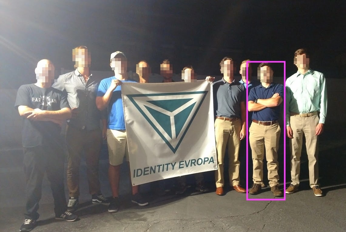 Ryan Sanchez poses alongside other SoCal Identity Evropa members in the same polo he wore to the R.A.M. attended Anti-Sharia Law hate rally