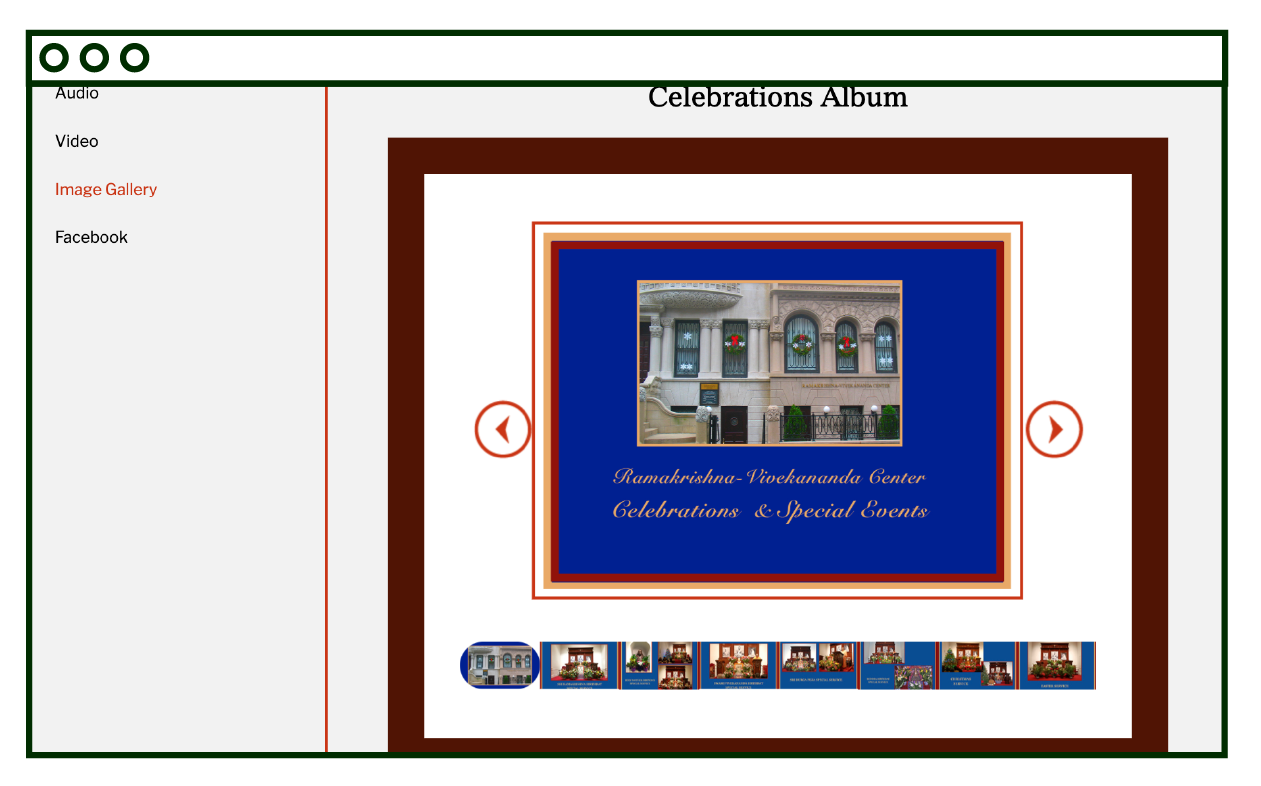 image gallery page, slideshow with bottom row mini-gallery navigation