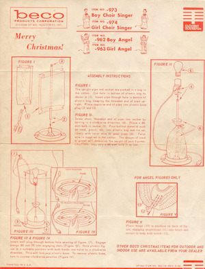 Beco Products Boy Choir Singer #973, Girl Choir Singer #974, Boy Angel #962, Girl Angel #963 Instruction Manual (1966-06).pdf preview