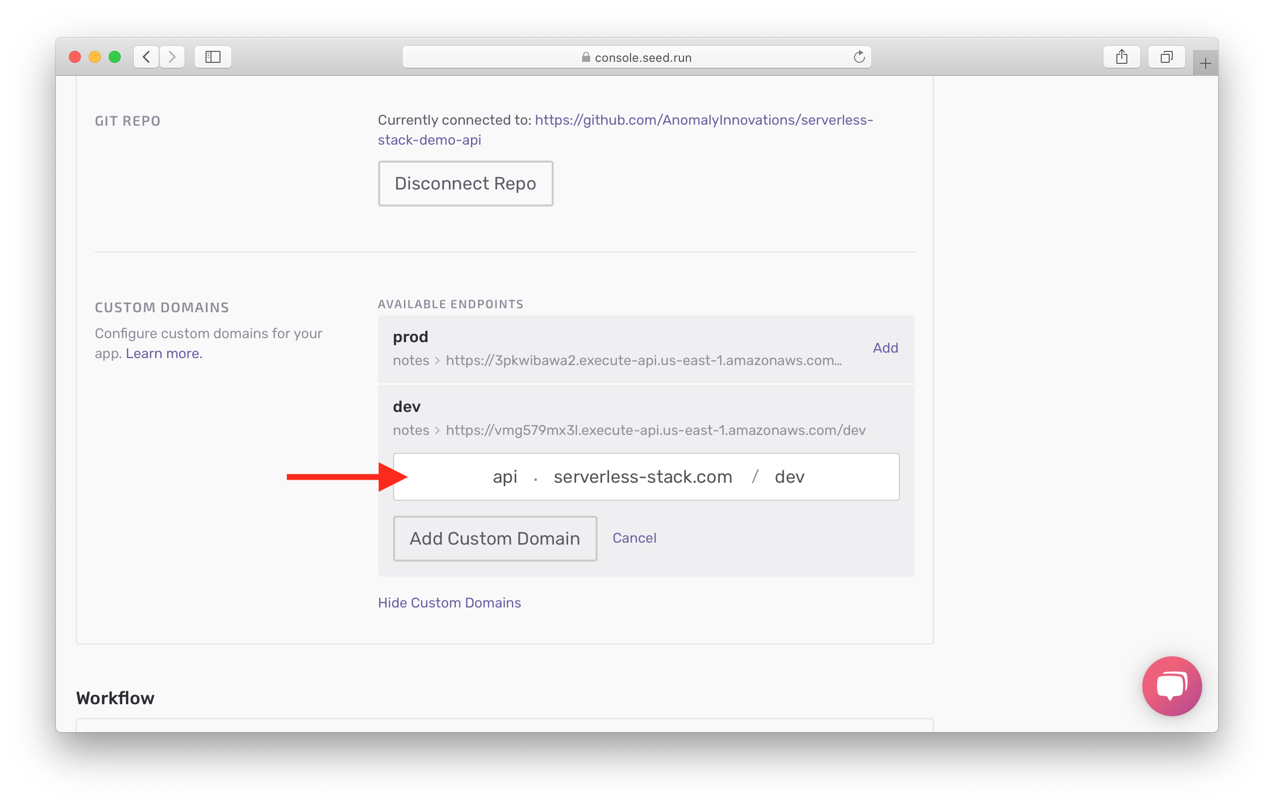 Click Add Custom Domain button for dev endpoint