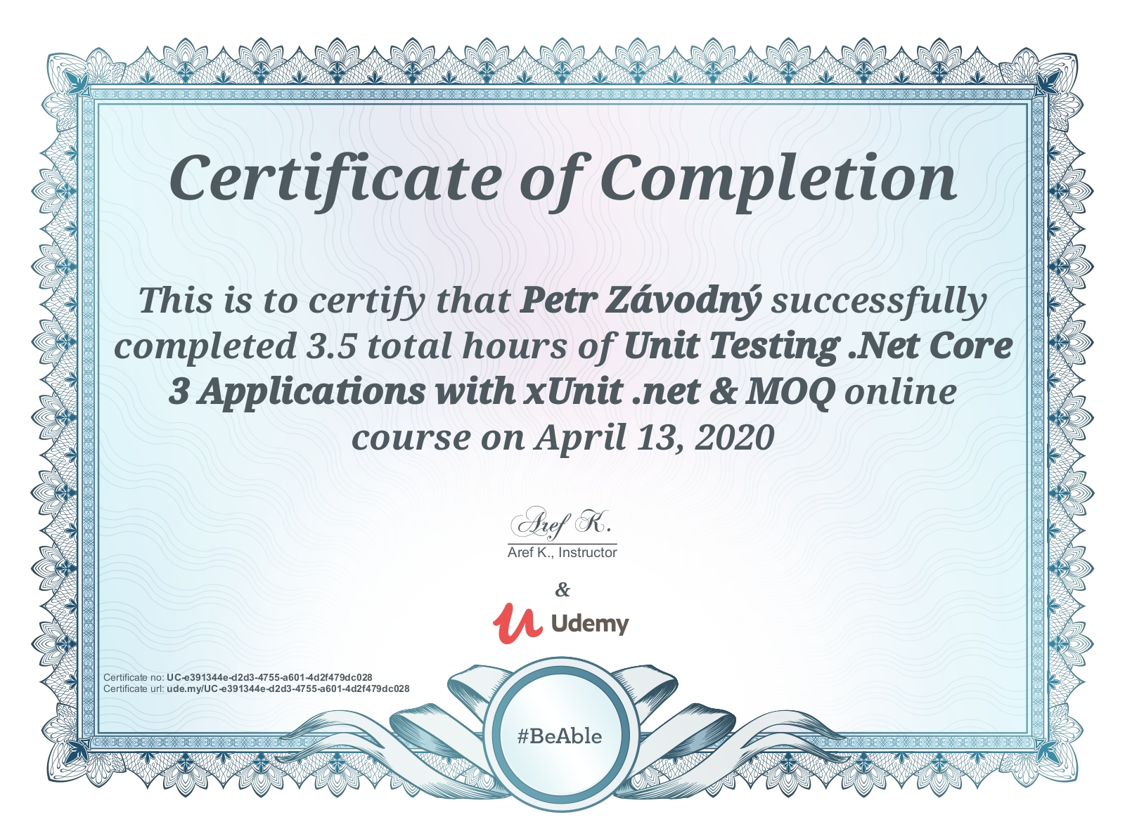 certificate Unit Testing .Net Core 3 Applications with xUnit .net & MOQ