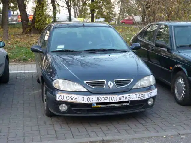 DROP DATABASE injection string on a license plate