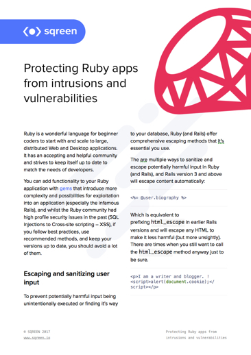 Protecting ruby apps from intrusions and vulnerabilities