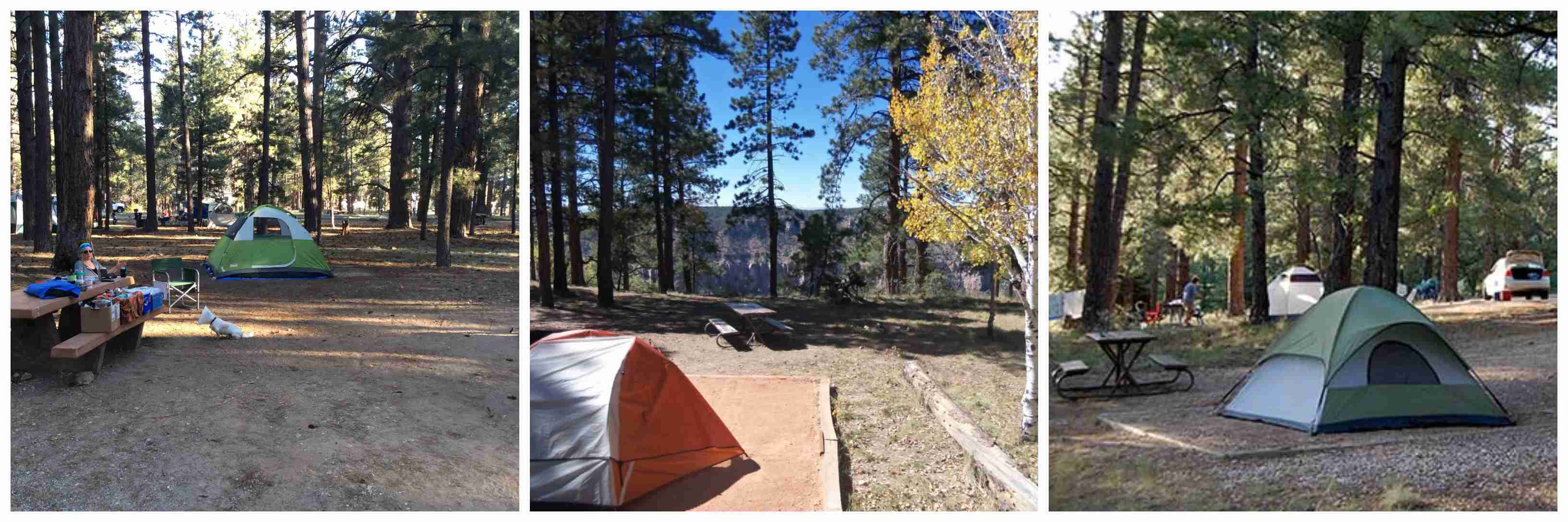 two separate camping sites at the Bright Angel Campground
