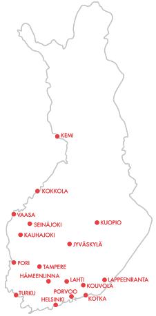 Lainalaatikon toimipisteet kartalla: Helsinki, Espoo, Vantaa, Kauniainen - Hämeenlinna - Jyväskylä - Kauhajoki - Kemi - Kokkola - Kotka - Kouvola - Kuopio - Lahti - Lappeenranta - Pori - Porvoo - Seinäjoki - Tampere - Turku - Vaasa