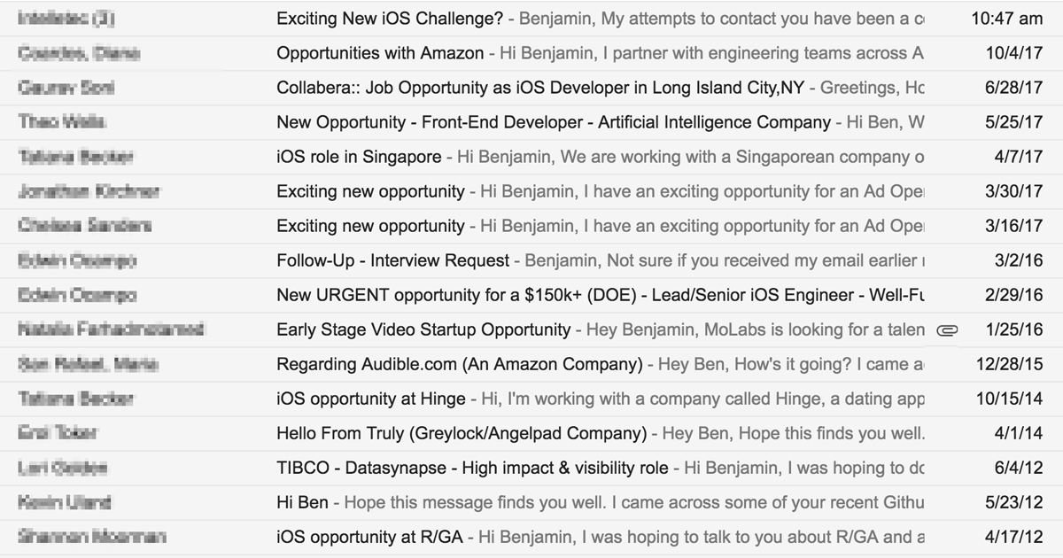 Screenshot of recruiter emails
