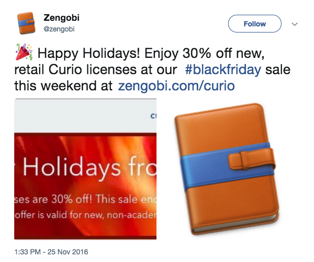 Zengobi's Black Friday Curio Twitter promotion