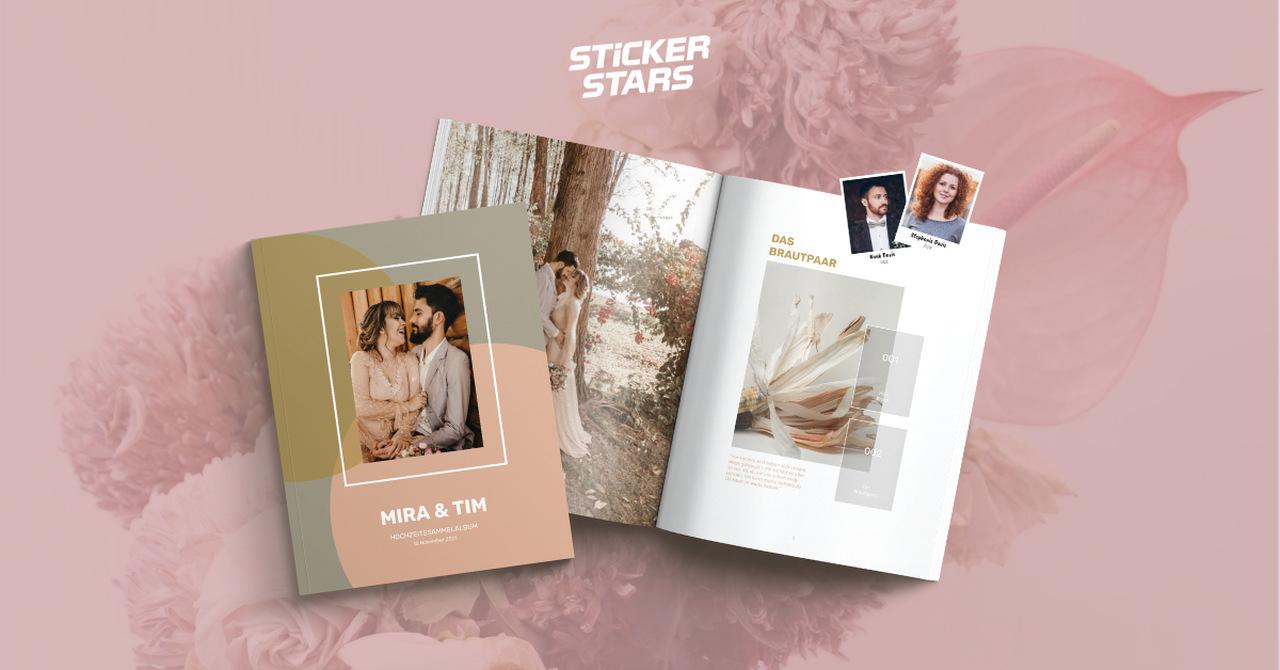 Gästebuch selbst gestalten mit dem Stickerstars Designer