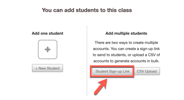 "Screenshot of ""Students"" page with an arrow pointing to ""Student Sign-up Link"" button"""