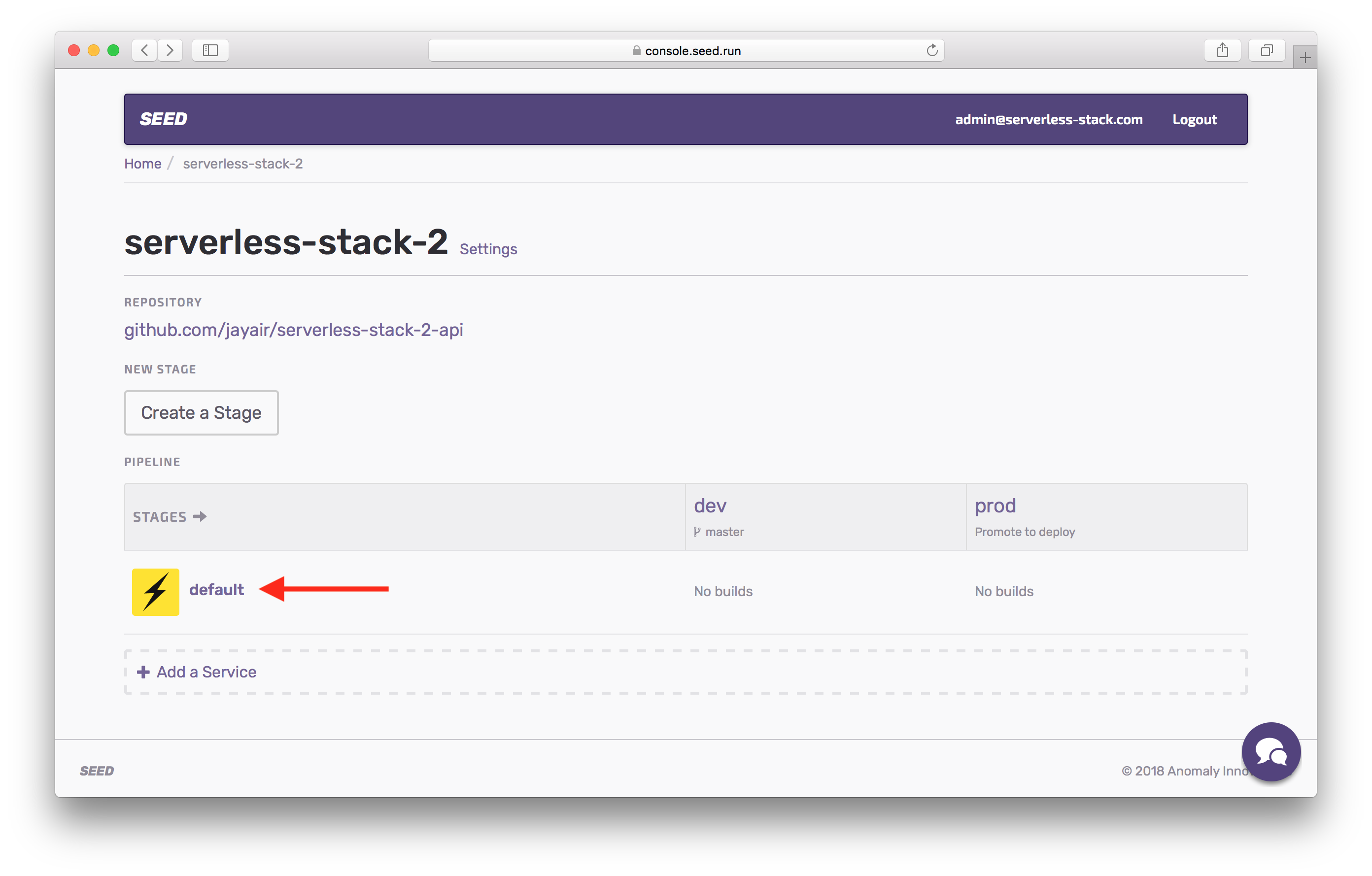 Click default service in Seed project screenshot