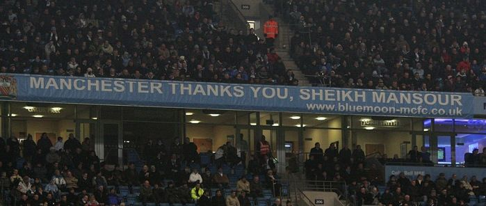 Manchester City banner saying Manchester thanks you, Sheikh Mansoor
