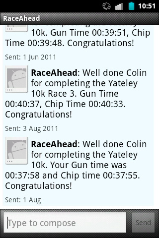 Results SMS Screenshot