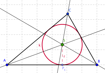 Kružnice k vepsaná trojúhelníku ABC