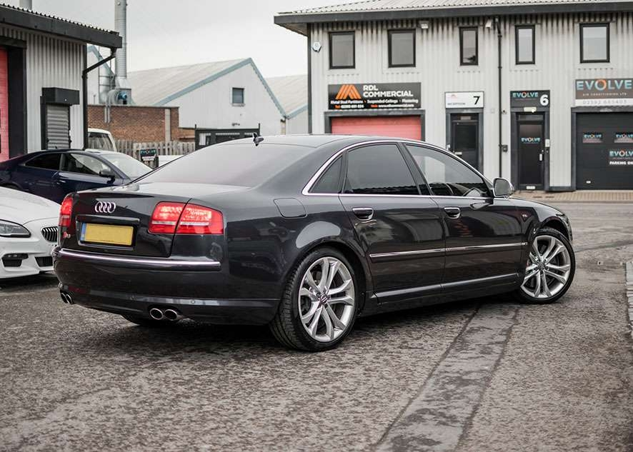 Audi s8 car with tinted windows from back