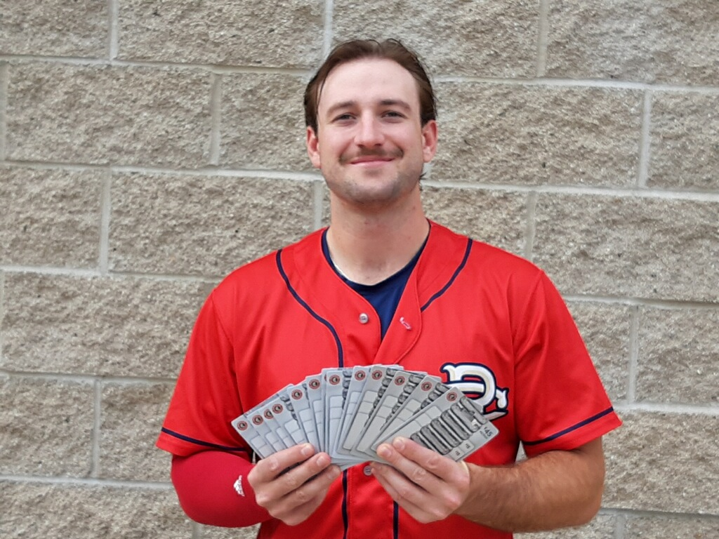 Kernels player with Chipotle Gift Cards.