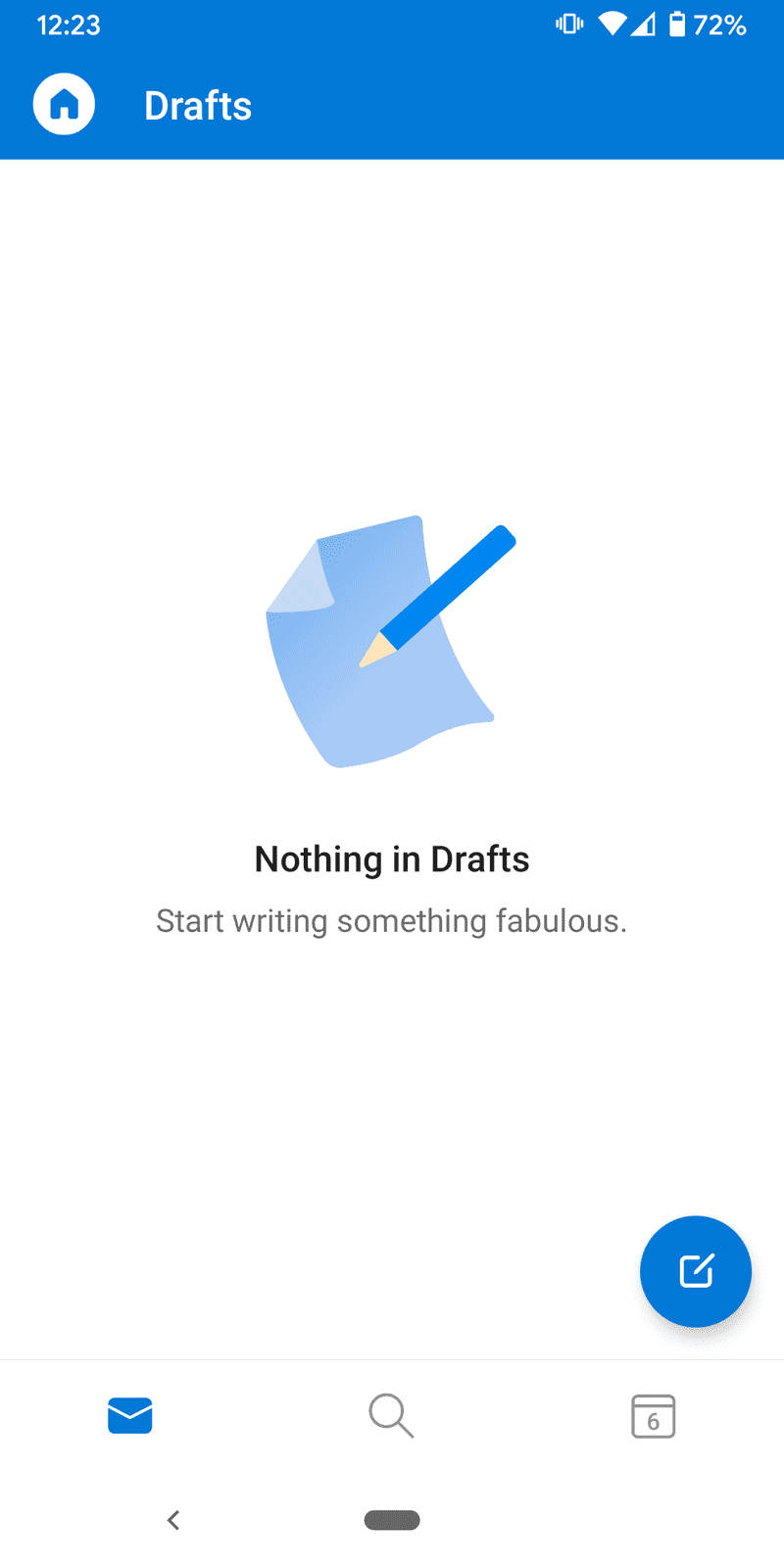 Screenshot of No drafts in Outlook for Android