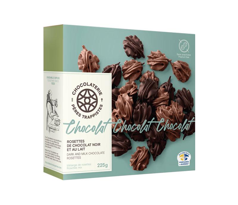 Chocolat Rosettes de chocolat noir et au lait