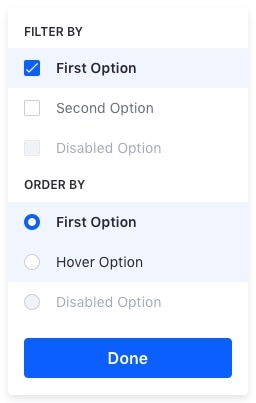 dropdown menu with groups