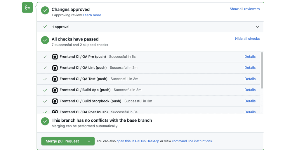 GitHub pull request checks for Swarmia's frontend repository