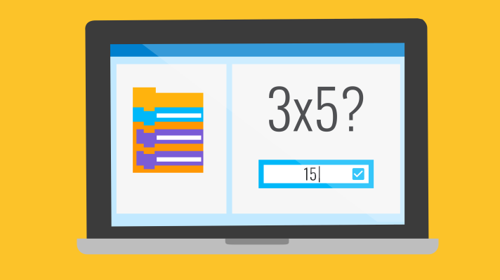"Illustration of a computer screen with a simplified version of the Scratch editor. The left side displays nondescript Scratch blocks and the right side displays a math game with ""3 x 5?"" with the answer ""15"" typed in a box as if to answer the question."