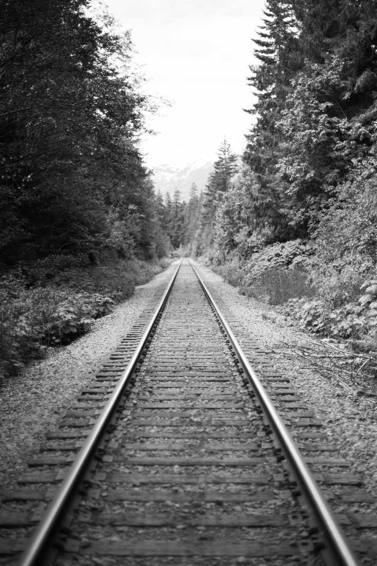 Black and white train tracks