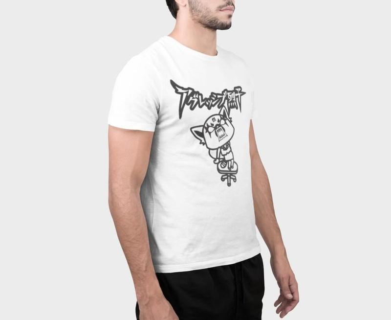 Aggretsuko Men's White Retsuko Kanji T-shirt Right Size