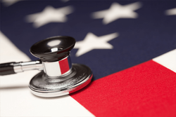 A stethoscope on the American flag
