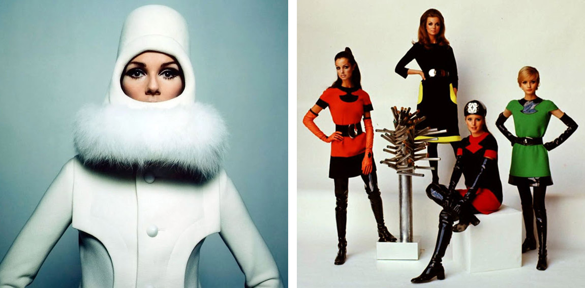 60s fashion models in brightly colored clothes designed by pierre cardin