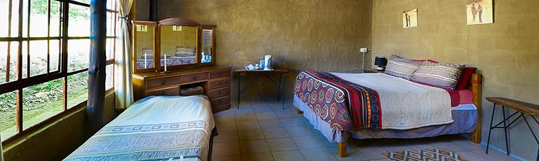 Inside a double en-suite room.