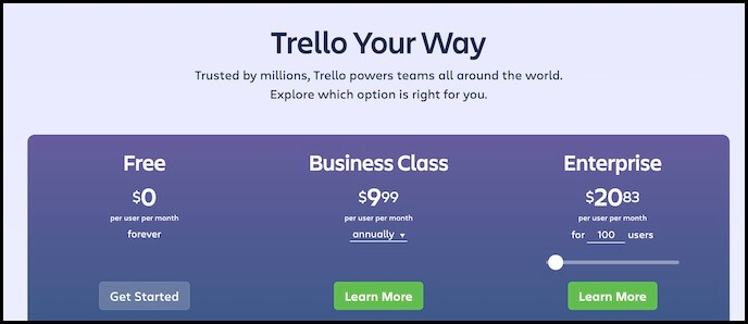 screenshot of Trello pricing page