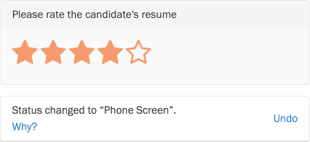 Feedback inline with star rating changes.