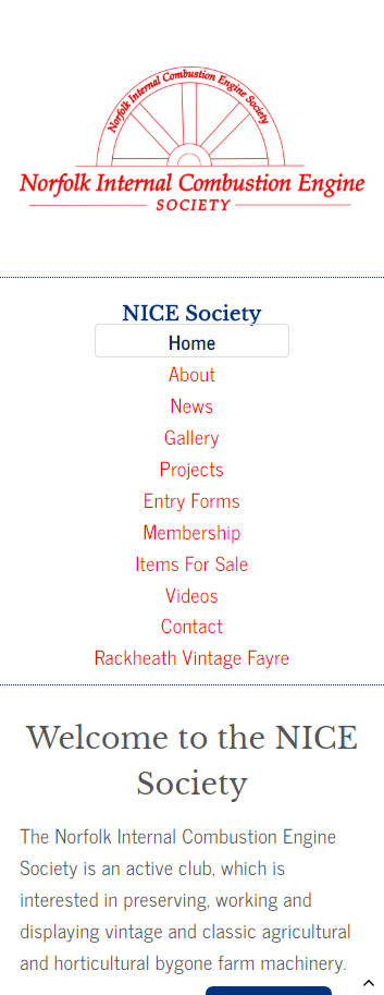 Nice Society website frontpage on a mobile