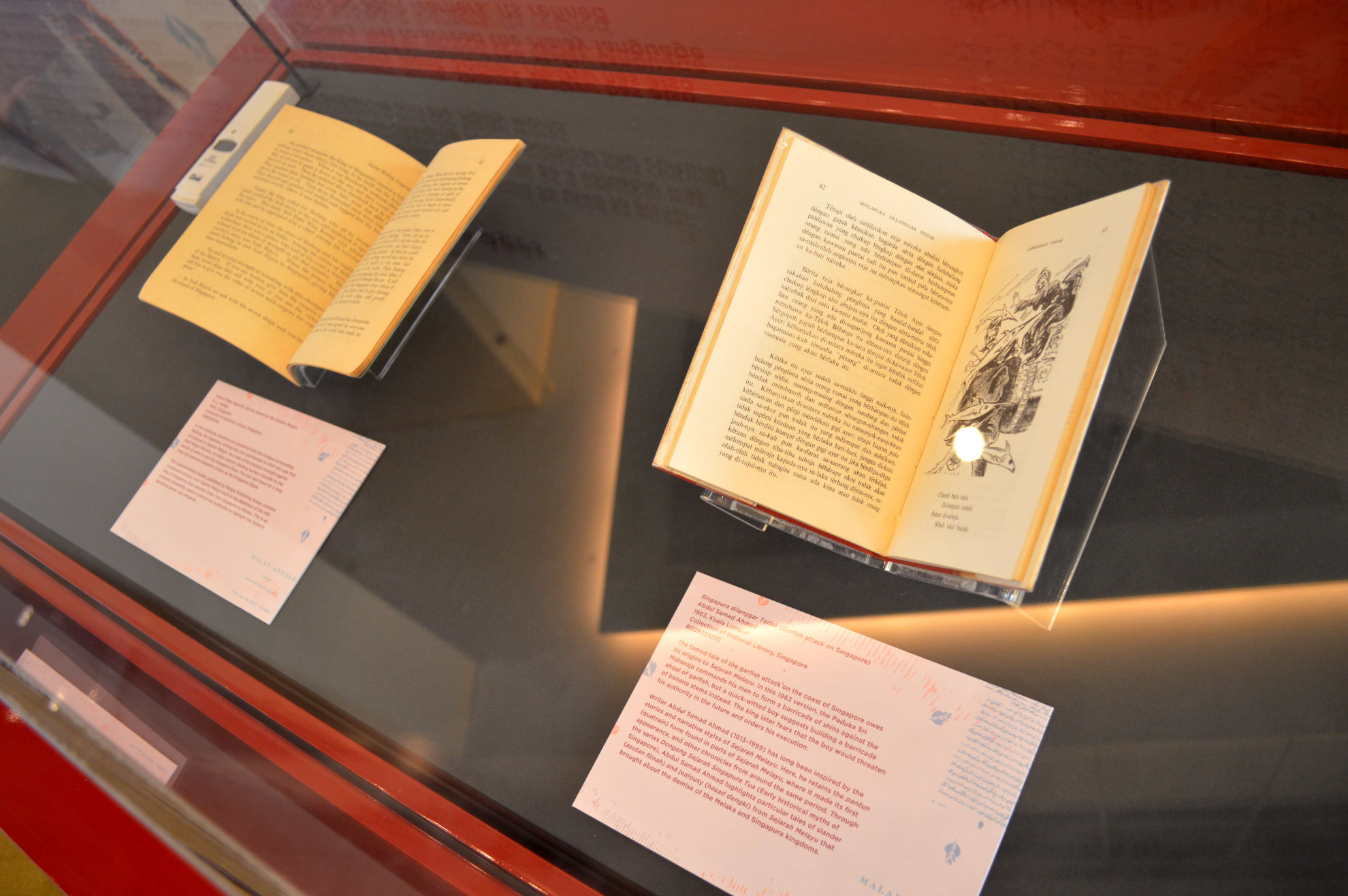 Photo close-up of the opened books within the showcase. There is a black and white illustration on one of the pages.