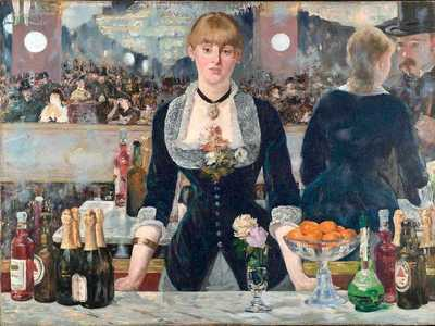 Edouard Manet's last major work was the Bar at the Folies Bergere, exhibited at the Salon in 1882 (the year before Manet's death).Manet's Luncheon on the Grass (Dejuner sur l'herbe) was shown at the Salon de Refuses in 1863. Like Olympia, shown two years later, it was roundly rejected by art critics and the public.