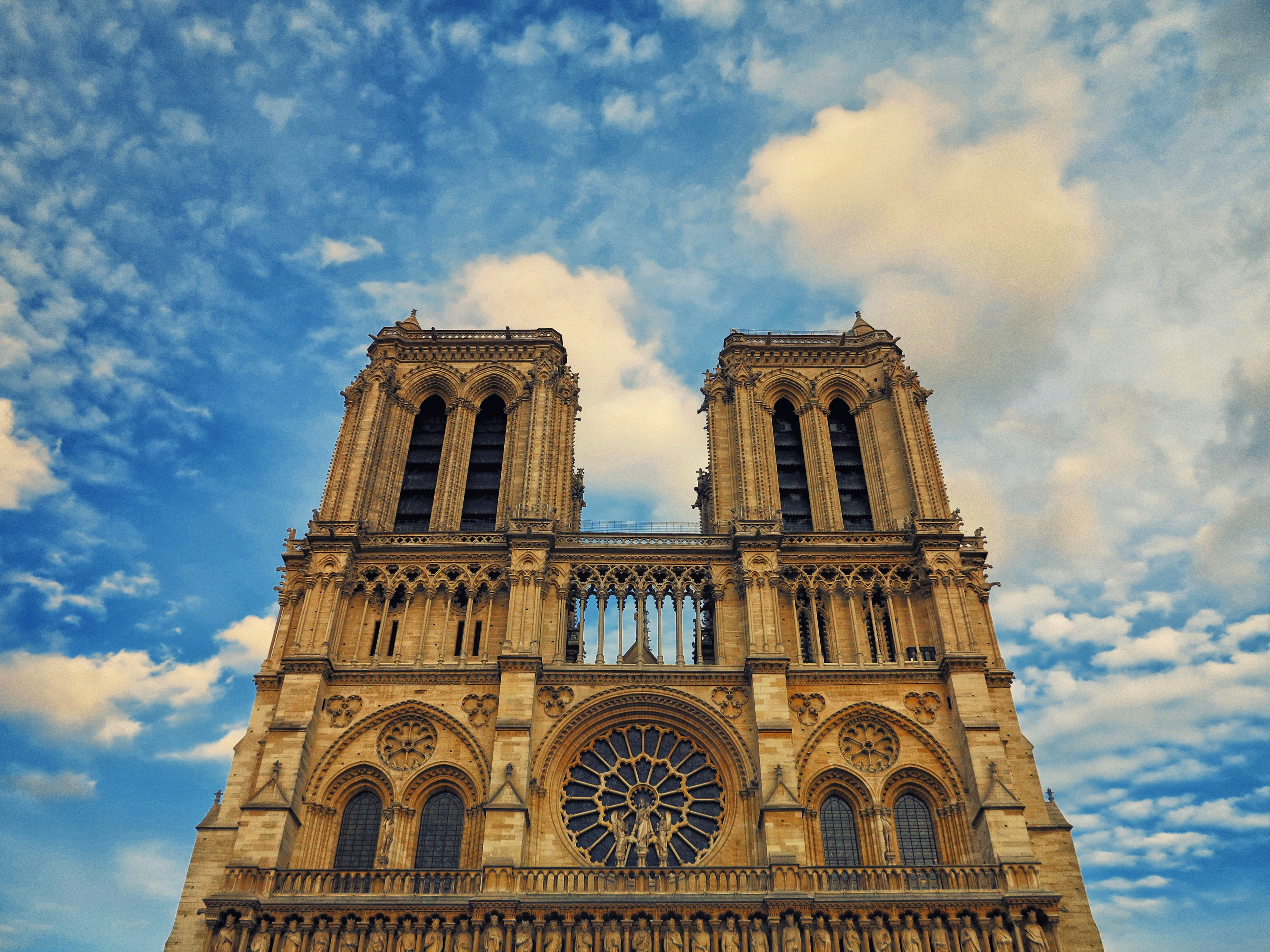 notre dame cathedral against a blue sky