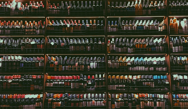 Shelf of bottles of wine in a store