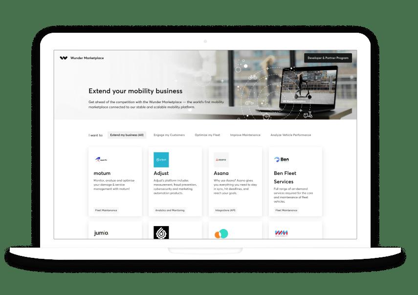 Wunder Marketplace webpage screenshot on a laptop