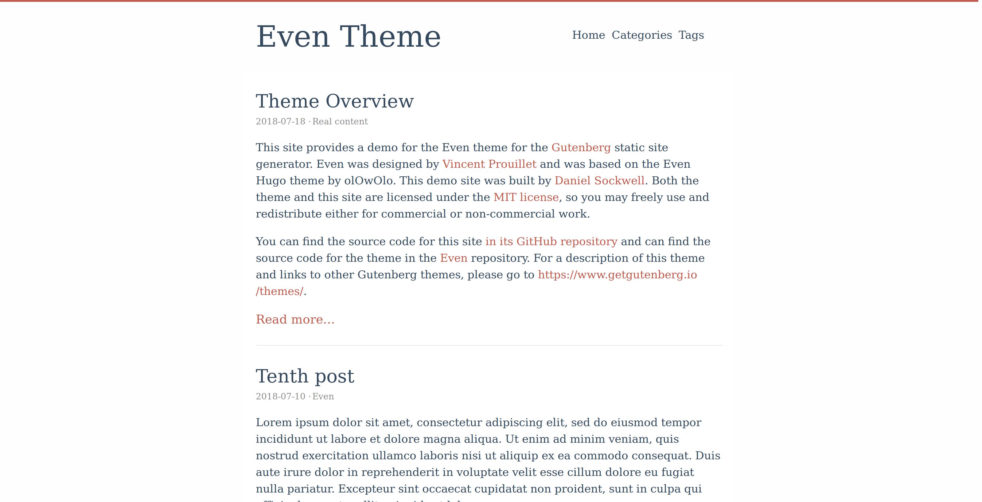 Screenshot of Even theme