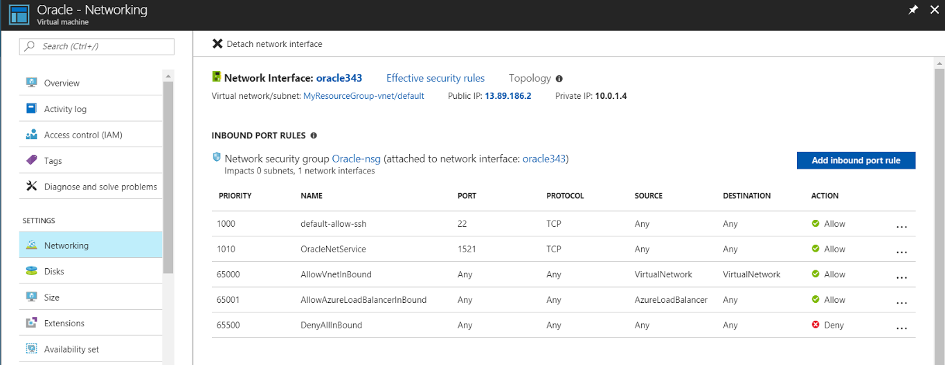 Creating new inbound rule on Azure