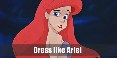 Ariel wears a pretty blue dress while going on a walk around the village with Prince Eric.