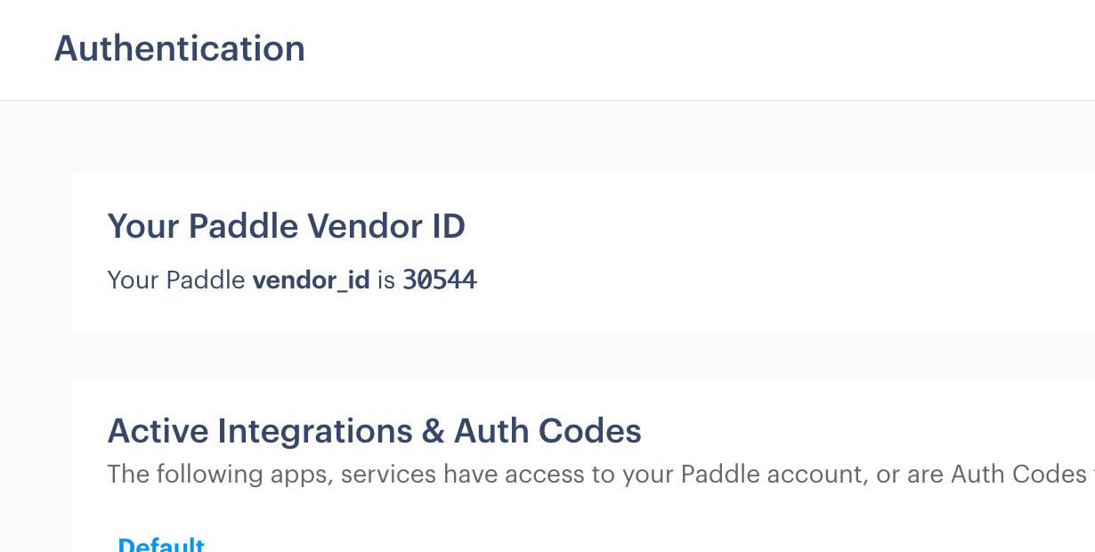 Paddle Vendor ID